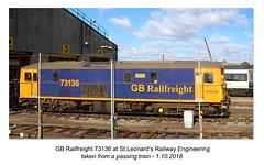 GBRf 73136 at St Leonard's RE Ltd 1 10 2018