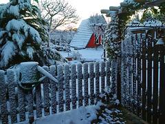 Wintereinbruch am Gartenzaun ... HFF !