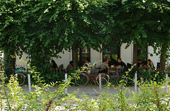 Schattiger Biergarten in der Lippmann-Straße, Hamburg-Altona