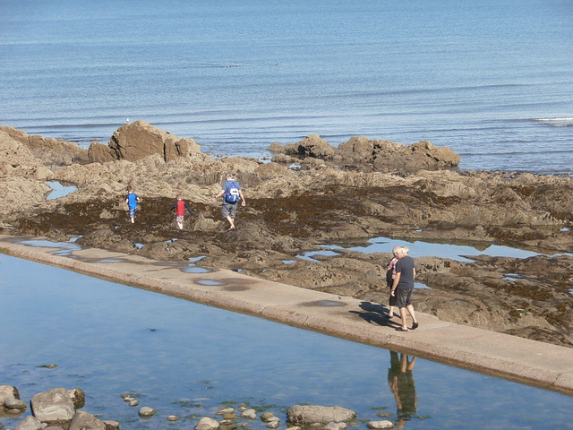People enjoying exploring the rock pools