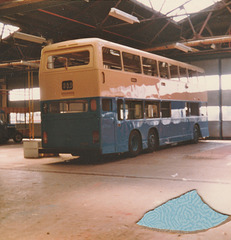 China Motor Bus (Hong Kong) tri-axle Leyland Olympian at ECW Lowestoft - 9 Apr 1983