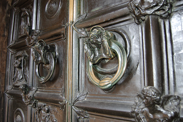 Detail of Bronze doors by Henry Wilson dating from 1904. Saint Mary, Lace Market, Nottingham