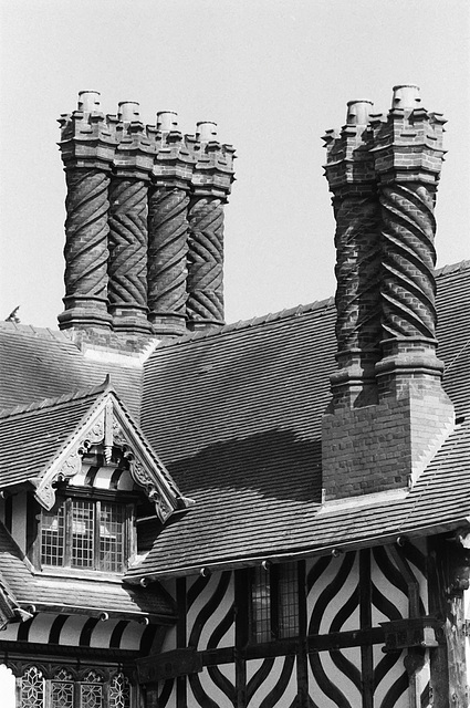 Barley-twist chimneys at Wightwick Manor House