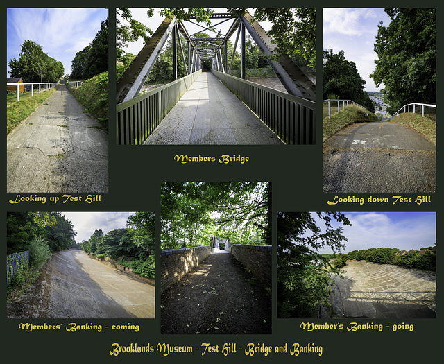 Collage of Brooklands historic race circuit features