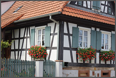 Seebach (67) 5 septembre 2014. Village typique de l'Alsace septentrionale.