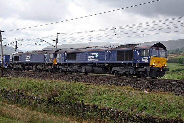 0010. DRS class 66`s 66431+66429 at Scout Green with 4S43 Daventry - Mossend 20th May 2017.