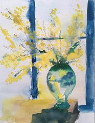 Aquarelle : Le mimosa