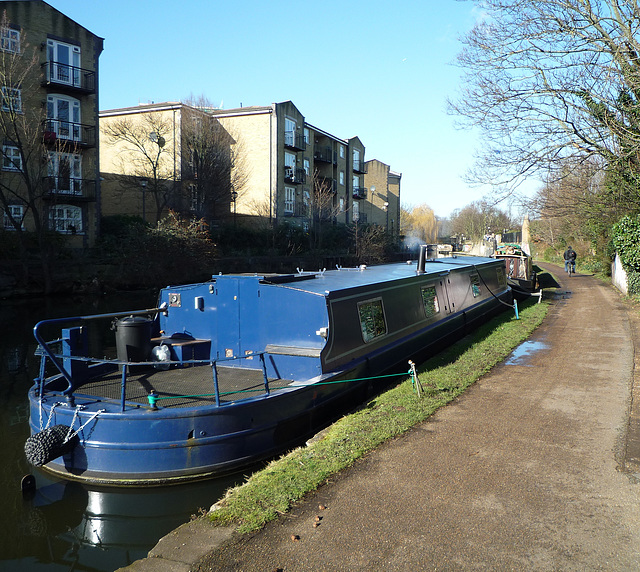 Blue canal-boat