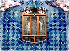 Barcellona : Casa Batlló - la vetrata al 5° piano