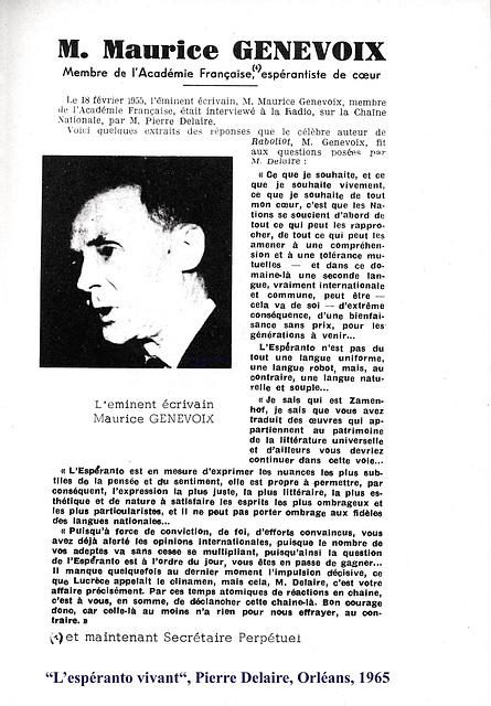 Maurice Genevoix,  espéranto, RDF, 18 février 1955