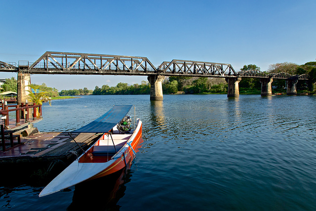 The infamous Bridge over the River Kwae in Muang Kanchanaburi, Thailand