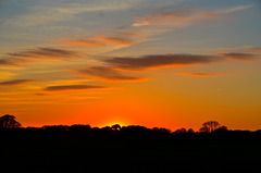 Sunset over Staffordshire fields