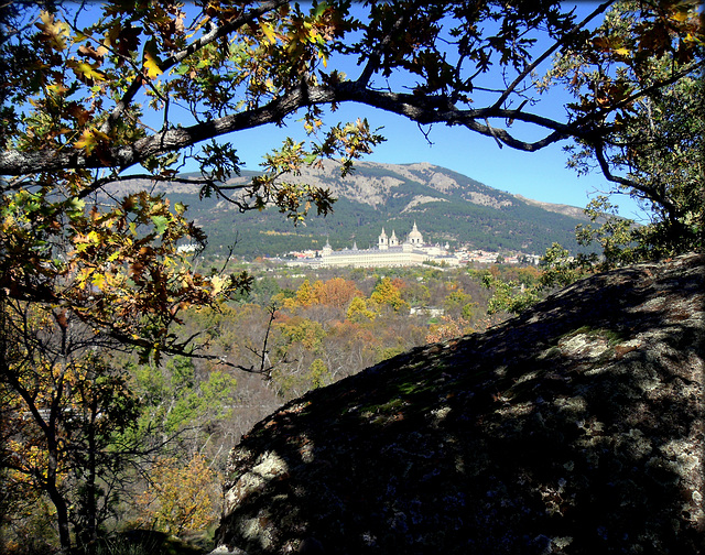 Abantos and San Lorenzo de El Escorial from the Herreria Woods
