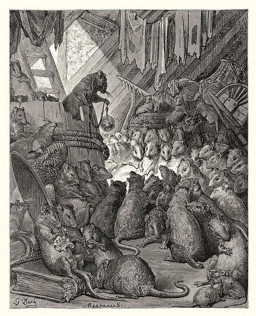 Jean de la Lafontaine - Gustav Doré: La konsilio de la ratoj