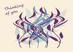 Leaves from Photoshop shapes - blue & plum - Thinking of You