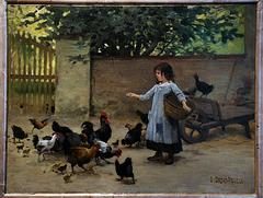 """"""" Petite fille nourrissant les poules """" . Edouard Debat-Ponsan ( 1891 ) Musée de Tours"""