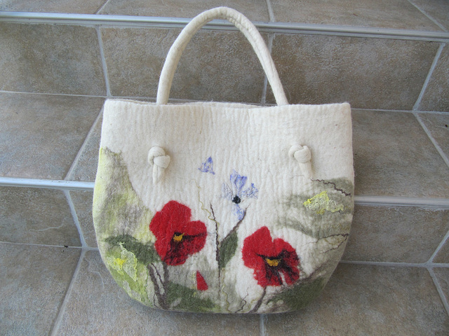felt handbag - poppies