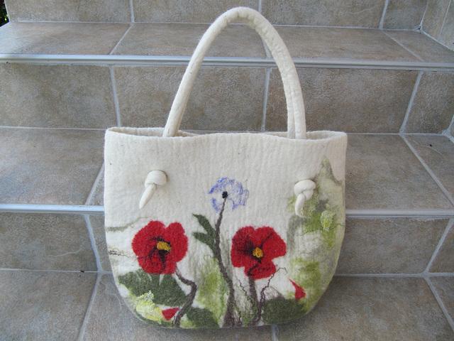 felt handbag - poppies