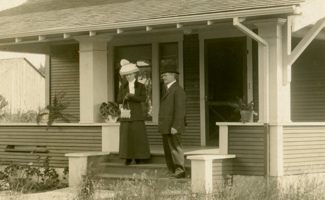Ella and Her Husband on the Front Steps of Their New Home (Cropped)