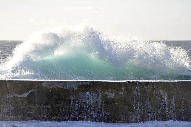 A big wave from Sennen Cove