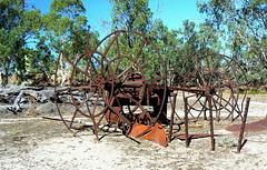 Paddle wheel steamer remains.