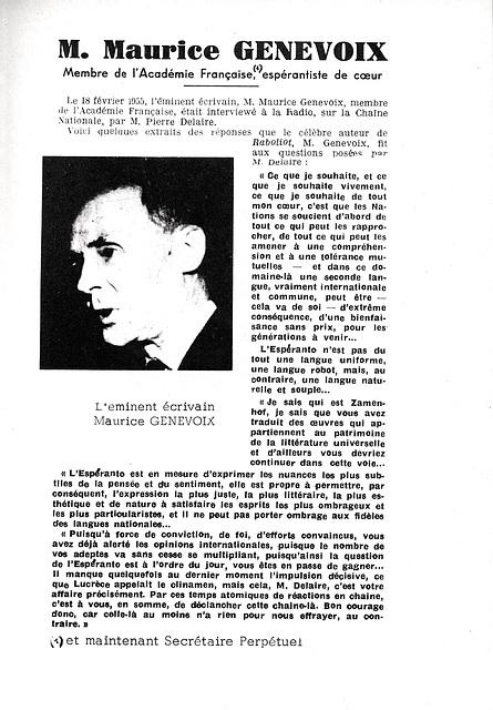 Maurice Genevoix à propos de l'espéranto