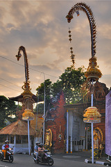 Penjor decoration beside the mainroad