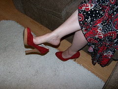 Tanya / 6 inch Red Suede dangle