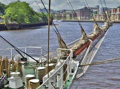 Looking up the River Tyne. Tall Ship Stavros S Niarchos.