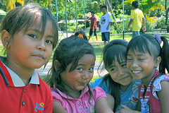 Young Balinese enjoy in Air Sanih