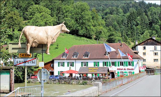 Goumois (France) (25) 31 juillet 2014. Vue en direction  de Goumois (Suisse).