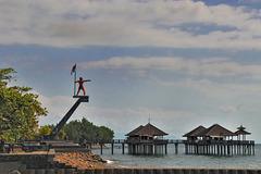 Beach restaurants on poles in Kampong Bugis