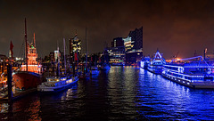 red blue harbour night