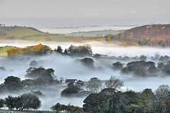 Valley mist at sunrise