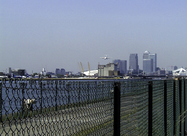 Coming in to land at London City Airport