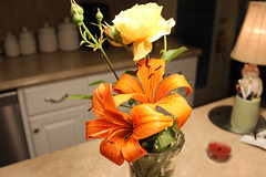 Orange Lily-Yellow Rose from my Garden  !!!