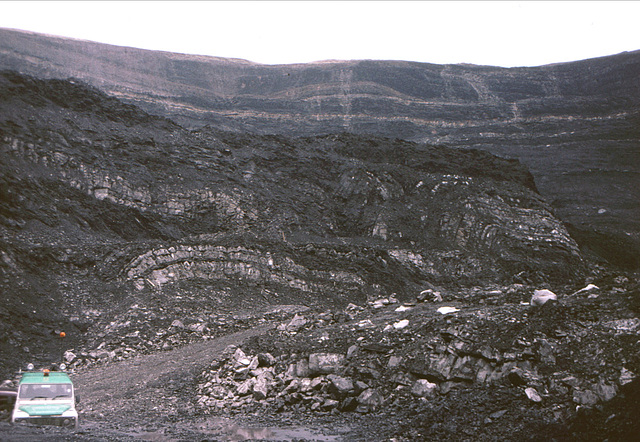 Thrusted Coal Measures at Ffos Las Opencast Coal Site, Carmarthenshire.