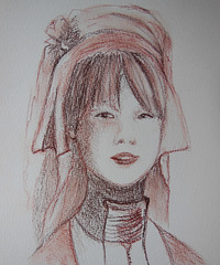 S like SEPIA sketch (Burmese lady)