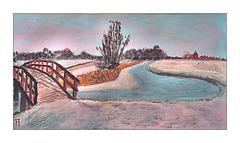Schilderij  Winter aan het Westeremdermaar