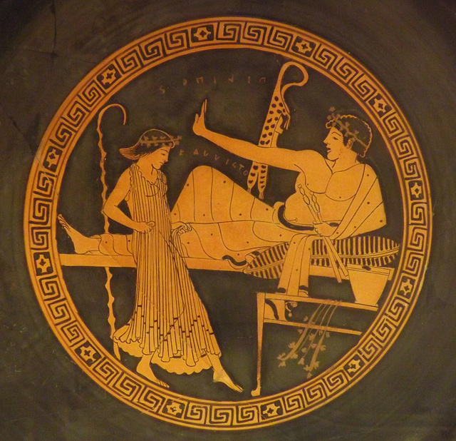Detail of a Red-Figure Kylix Attributed to the Brygos Painter in the British Museum, May 2014