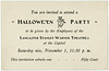 Halloween Party Invitation, Lancaster, Pa.