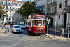 Lisbon 2018 – Tourist tram on the Largo da Chiado waiting to enter Praça Luis de Camões