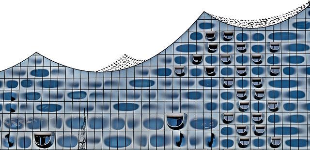 Detail der Elbphilharmonie - architektonisch gelungenes Bauwerk