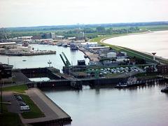 Blick auf einen Teil vom Fischereihafen..