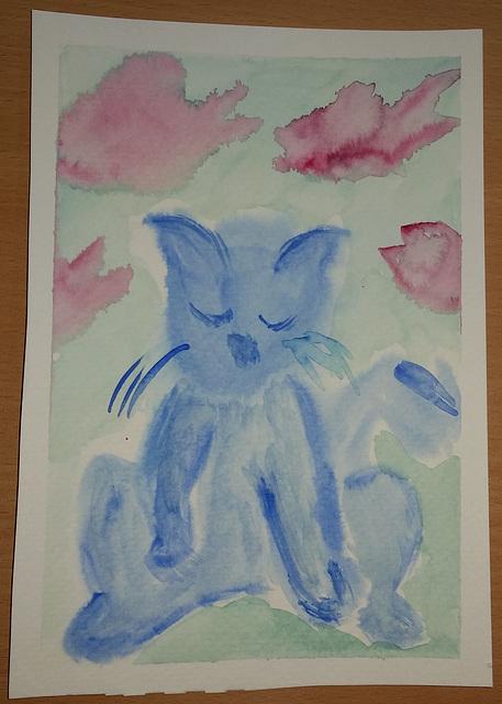 sad cat art