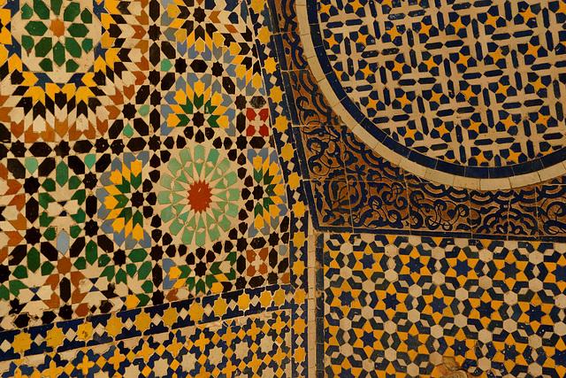 Detail of islamic mosaic fountain