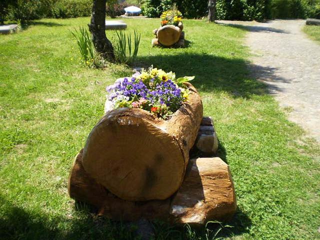 Wooden flowerbeds.
