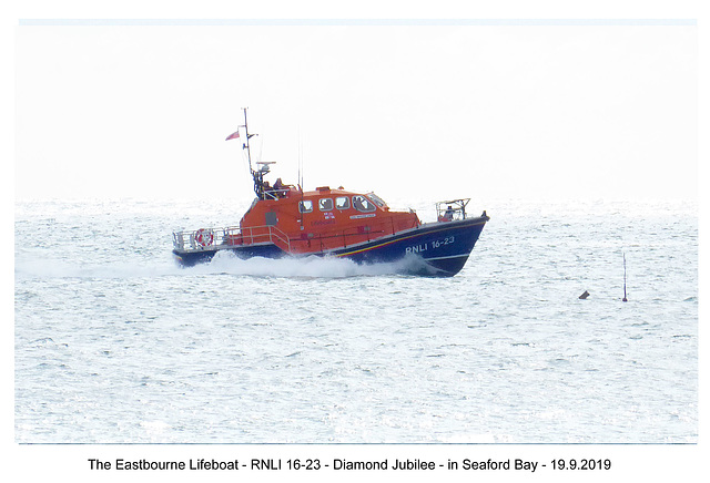 Eastbourne lifeboat, Seaford Bay 19 9 2019 side view