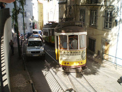 Traffic jam in historic Lisbon.