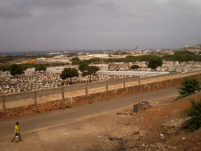 The backside of the cemetery.